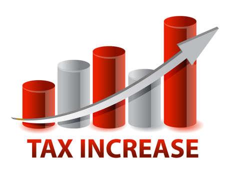 podatek: Wzrost wykres podatku projektowania ilustracji na białym tle