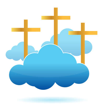 clouds and crosses illustration design on a white background