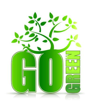 think green: vaya concepto de dise�o de �rbol verde con ilustraci�n en blanco