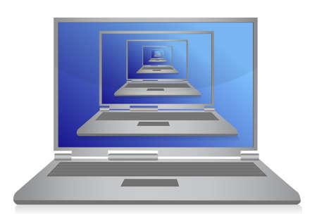 multiple laptops inside one illustration design on white Stock Vector - 11356782