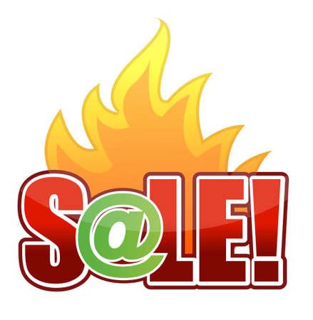 fiery font: Online-Fire Sale Text, Illustration, Design