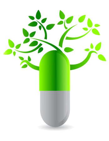 medicament: c�psula de �rbol, ilustraci�n, dise�o blanco en la parte posterior