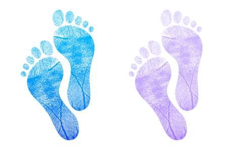 Baby footprint blue, pink illustration design on white Vector