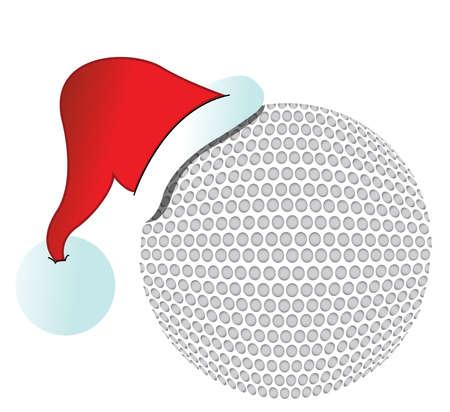santa hat golf ball illustration design on white  Illustration