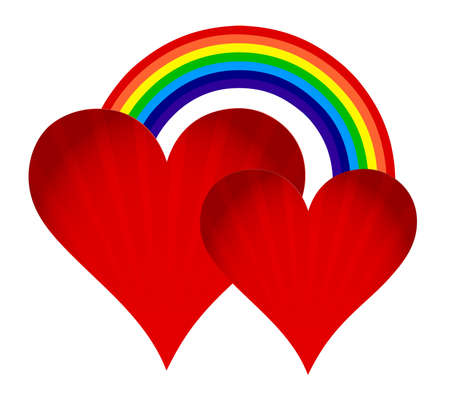 hearts with rainbow illustration design on white background Vettoriali