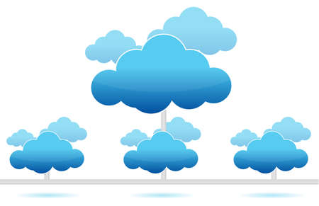 security symbol: cloud computing network connection illustration design on white