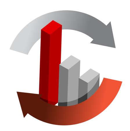 cíclico: gráfico de negocios roja en el diseño de la ilustración de flecha del ciclo