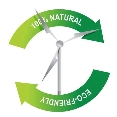 wind turbine: �olienne de recyclage sur une conception d'illustration fond blanc