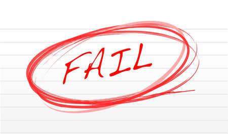 fail written on a notepad paper illustration design