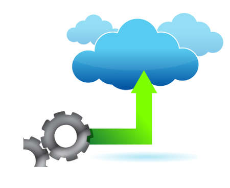 synchronizing: illustration of gear cloud computing on a white  Illustration