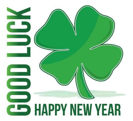 Feliz año nuevo verde trébol de buena suerte ilustración Foto de archivo - 11621331