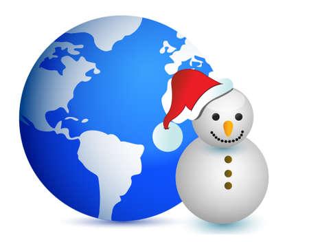 globe map snowman illustration design on white Ilustracja