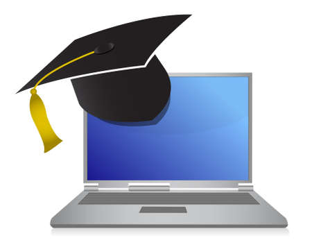 laptop: online education graduation concept illustration design