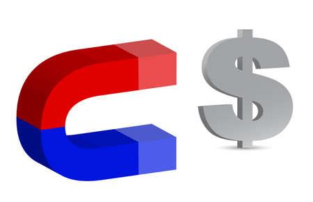 polarize: Magnet and dollar sign on white background Illustration