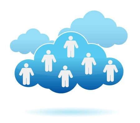 Nube concepto de computación. Las redes sociales diseño ilustración Ilustración de vector