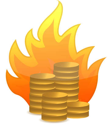 smoke stack: coins on fire illustration design on white
