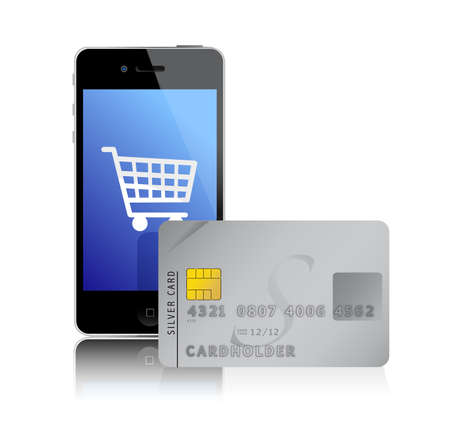 mobile phone screen: internet shopping with smart phone and credit card