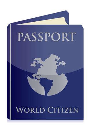 aduana: Pasaporte en el dise�o de ilustraci�n de fondo blanco