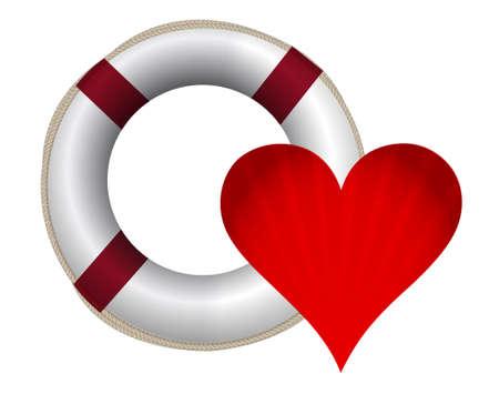 romance: heart and lifesaver sos illustration design on white