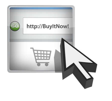 Buy it now browser button with cursor illustration design Vector