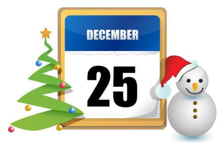 december 25 calendar tree and snowman illustration design Vector