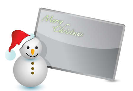 snowman christmas card illustration design on white Stock Vector - 11662173