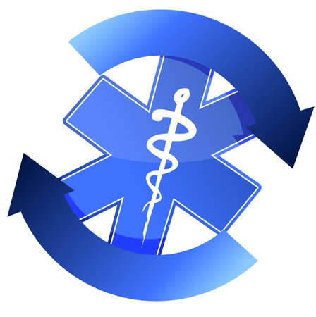 24/7 blue medical symbol cycle illustration design