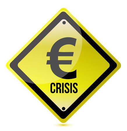 yellow euro crisis sign illustration design on white