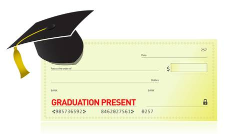 graduation present and graduation hat illustration design Vector