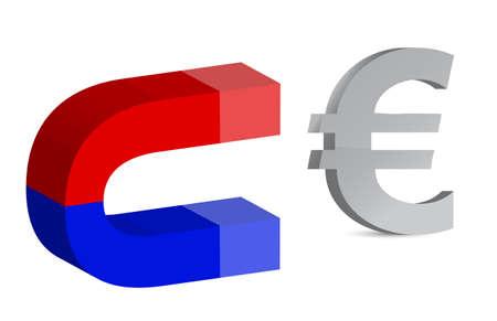 euro teken: Magnet en euro teken op witte achtergrond