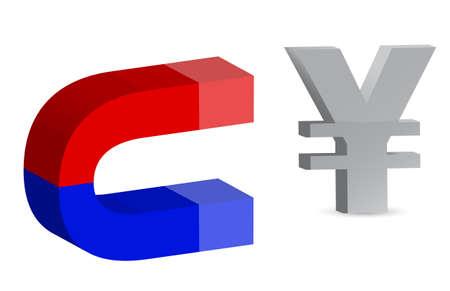 polarize: Magnet and yen sign on white background  Illustration
