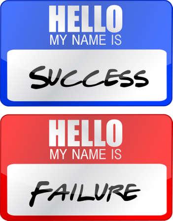 성공, 실패 빨강 및 파랑 이름 태그 삽화 일러스트