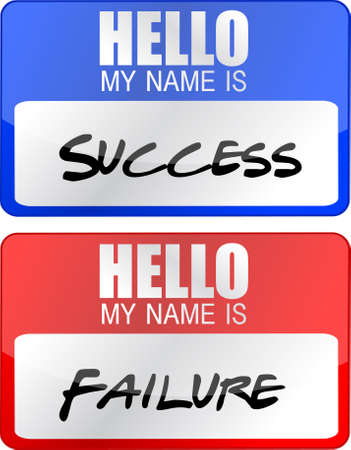success, failure red and blue name tags illustrations  Иллюстрация