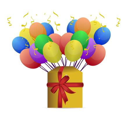 gift box and balloons illustration design on white Stock Vector - 11662174