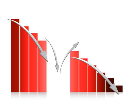 investor: red graph falling illustration design on white background