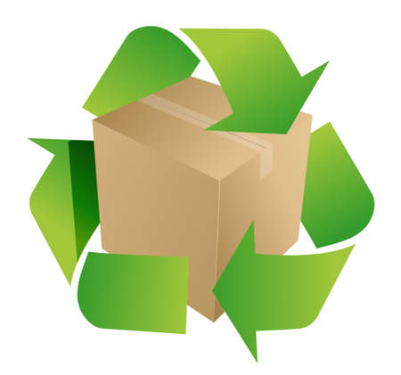 papel reciclado: caja símbolo de reciclaje, ilustración, diseño sobre fondo blanco