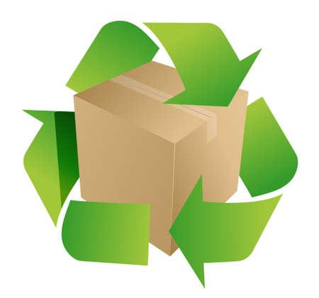 doos recycle symbool illustratie ontwerp op wit Stock Illustratie
