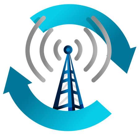 összekapcsol: wi fi torony ciklus illusztráció tervezés, fehér