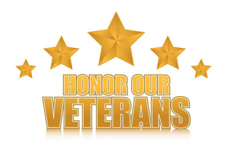 veterans day: honor our veterans gold illustration sign design on white