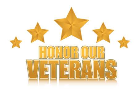 day: honor our veterans gold illustration sign design on white