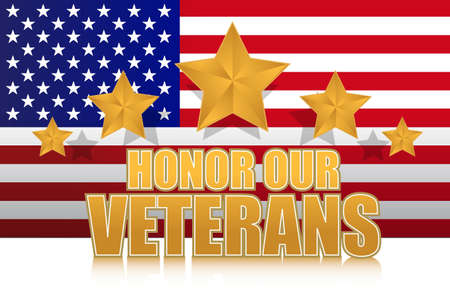 our: us honor our veterans gold illustration sign design on white Illustration