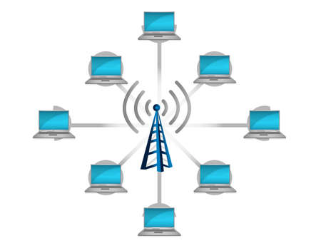 wireless network: conexi�n de red inal�mbrica concepto de ilustraci�n, dise�o en blanco