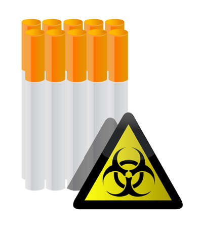 warning sign and cigarettes illustration design on white  イラスト・ベクター素材