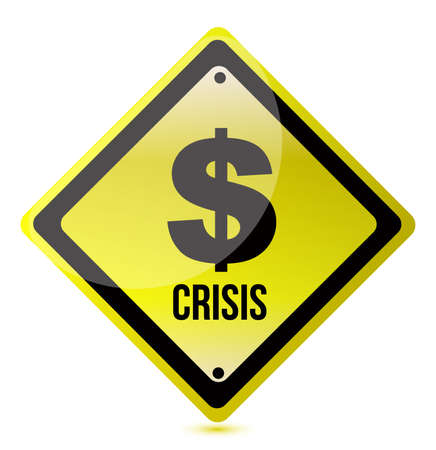caution sign: yellow dollar crisis sign illustration design on white