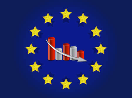 economy crisis: european union flag and falling graph illustration design