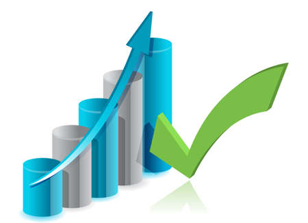 grafico vendite: Grafico della progettazione e illustrazione segno di spunta su bianco Vettoriali