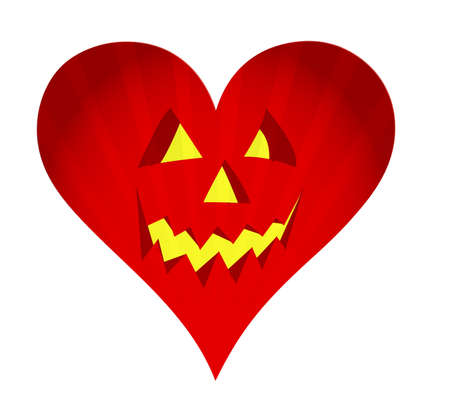 red pumpkin face heart illustration design on white