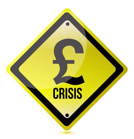 yellow pound crisis sign illustration design on white