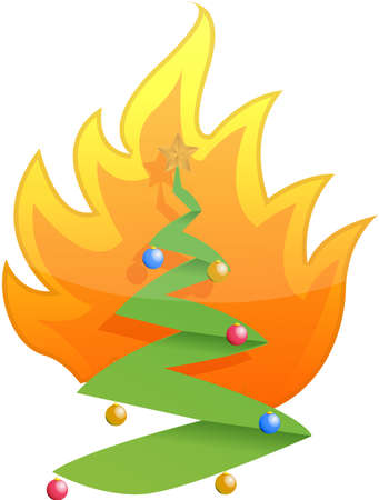 burning paper: christmas tree on fire illustration design on white Illustration