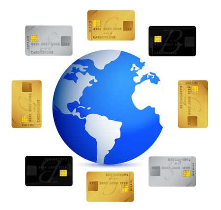 banco mundial: mundo con tarjetas de cr�dito en torno al dise�o ilustraci�n en blanco